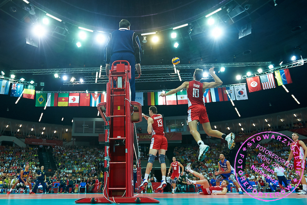 Russia's Sergey Savin spikes the ball while volleyball match between Brazil and Russia during the 2014 FIVB Volleyball World Championships at Spodek Hall in Katowice on September 14, 2014.<br /> <br /> Poland, Katowice, September 14, 2014<br /> <br /> For editorial use only. Any commercial or promotional use requires permission.<br /> <br /> Mandatory credit:<br /> Photo by &copy; Adam Nurkiewicz / Mediasport