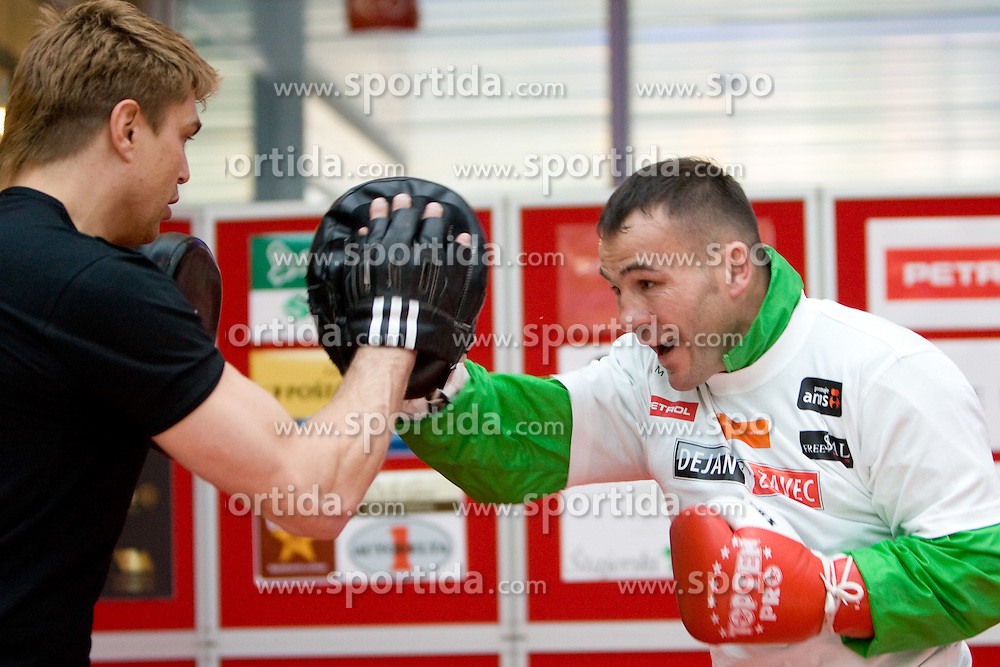 Boxer Dirk Dzemski, German coach and Slovenian Boxer Dejan Zavec alias Jan Zaveck alias Mr. Simpatikus at open for public and press practice session before defending title of IBF World Champion, on April 6, 2010, in BTC City park, Ljubljana, Slovenia.  (Photo by Vid Ponikvar / Sportida)