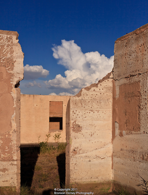 Masonry walls of the barracks at Fort D.A. Russell in Marfa, TX give clues to how the buildings used to look.