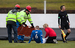Cowdenbeath's Thomas O'Brein off injured..half time : Cowdenbeath v Hamilton, 9/3/2013..©Michael Schofield..