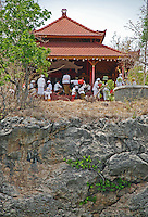 Worshippers at a temple on Pemateran Island in Bali, Indonesia.