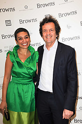 SIMON BURSTEIN and ZAINAB SALBI Iraqi American writer, activist and social entrepreneur who is co-founder and president for Women for Women International at a dinner hosted by Harper's Bazaar to celebrate Browns 40th Anniversary in aid of Women International held at The Regent Penthouses & Lofts, 16-18 Marshall Street, London on 20th May 2010.
