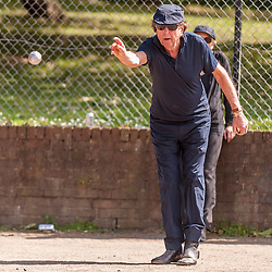 "© Licensed to London News Pictures. 05/06/2015.   London, UK. Monty Python star, Eric Idle, takes part in ""Freddie for the Day"", by playing a special game of celebrity Pétanque, competing for the Londonaise 'Celebrity Pétanque Trophy', ahead of The Londonaise Pétanque festival this weekend in Barnard Park, Islington.  The festival will set a new precedent in the UK with 128 teams taking part in the main tournament.  The event also aims to raise funds for the Mercury Phoenix Trust to fight against AIDS worldwide. Photo credit : Stephen Chung/LNP"
