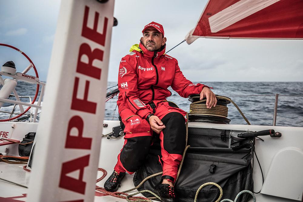 Leg 6 to Auckland, day 04 on board MAPFRE, Xabi Fernandez talking with Blair Tuke. 10 February, 2018.