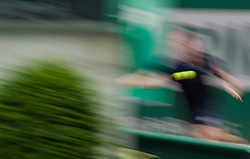 May 29, 2018 - Paris, France - Márton Fucsovics of Hungary returns the ball to Vasek Pospisil of Canada during the first round at Roland Garros Grand Slam Tournament - Day 3 on May 29, 2018 in Paris, France. (Credit Image: © Robert Szaniszlo/NurPhoto via ZUMA Press)