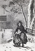 Mother urging her child to go to work in the mill. Clothes are rags and straw helps keep his feet warm. Children wait for mill door to open. Lateness meant the strap and loss of one quarter of a day's wages. From Frances Trollope 'The Life and Adventures of Michael Armstrong', London, 1840.