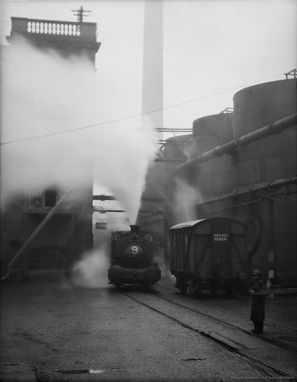 Train Engine with Cloud of Smoke, Port Sunlight, England, 1934