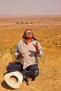 Henry Real Bird, Crow Indian, Poet, Author, Elder, Bucking Horse Contractor, viewing Total Solar Eclipse of the Sun, August 21, 2017, Crow Indian Reservation, Montana