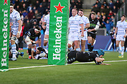 Glasgow Warriors second row forward Scott Cummings (5) scores his sides second try to make the score 12-0 during the Heineken Champions Cup match between Glasgow Warriors and Cardiff Blues at Scotstoun Stadium, Glasgow, Scotland on 13 January 2019.