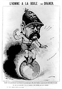 The Man on the Ball': Cartoon of Otto von Bismarck (1815-1898) Prussian statesman, having difficulty balancing on the world. His left foot is on France. French cartoon published during the Franco-Prussian War 1870-1871. German