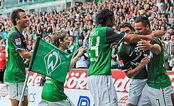 28.08.2010, Weserstadion, Bremen, GER, 1. FBL, Werder Bremen vs 1. FC Köln / Koeln, im Bild Jubel bei Philipp Bargfrede (Bremen #44), Marko Marin (Bremen #10), Claudio Pizarro (Bremen #24), Sebastian Boenisch (Bremen #2) und dem Torschuetzen Marko Arnautovic (Bremen #7, rechts)   EXPA Pictures © 2010, PhotoCredit: EXPA/ nph/  Frisch+++++ ATTENTION - OUT OF GER +++++