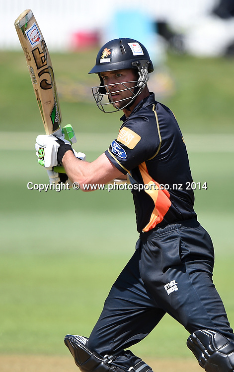 James Franklin batting during the Ford Trophy one day cricket match between Auckland Aces and Wellington Firebirds at the Eden Park Outer Oval, Auckland, New Zealand. Saturday 27 December 2014. Photo: Andrew Cornaga/www.Photosport.co.nz