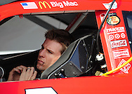 Nov. 12 2011; Avondale, AZ, USA; NASCAR Sprint Cup Series driver Jamie McMurray (1) sits in his car on pit road during qualifying for the Kobalt Tool 500 at Phoenix International Raceway. Mandatory Credit: Jennifer Stewart-US PRESSWIRE