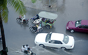 Street flooding from a downpour in Phnom Penh, Cambodia.