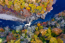 Killiecrankie, Perthshire, Scotland, UK. 28th October 2019. Autumnal colours in trees beside Soldier's Leap over the River Garry seen from a drone at Killiecrankie in Perthshire.