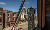 Renovation work at the Colonial Theater.  Removal of blade and marquee signs.  ©2020 Karen Bobotas Photographer