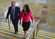 © Licensed to London News Pictures. 01/10/2012. Manchester, UK Ed Balls and Rachel Reeves MP arrive together before the speech. Shadow Chancellor Ed Balls makes his conference speech on Rebuilding the Economy. Labour Party Conference Day 2 at Manchester Central. Photo credit : Stephen Simpson/LNP