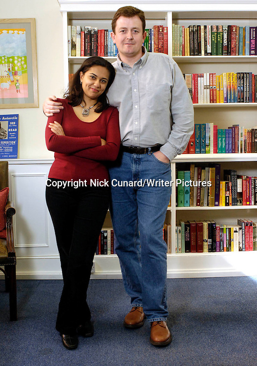 Tarquin Hall and wife Anu Anand pictured at home in London in 2005<br /> <br /> copyright Nick Cunard/Writer Pictures<br /> contact +44 (0)20 822 41564<br /> info@writerpictures.com<br /> www.writerpictures.com