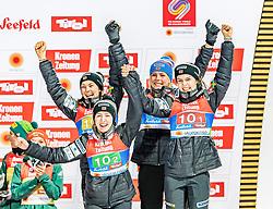 26.02.2019, Seefeld, AUT, FIS Weltmeisterschaften Ski Nordisch, Seefeld 2019, Skisprung, Damen, Siegerehrung, im Bild Bronzemedaillengewinnerin Anna Odine Stroem (NOR), Ingebjoerg Saglien Braaten (NOR), Silje Opseth (NOR), Maren Lundby (NOR) // Bronce medalist Anna Odine Stroem Ingebjoerg Saglien Braaten Silje Opseth Maren Lundby of Norway during the winner ceremony for the ladie's Skijumping HS109 competition of FIS Nordic Ski World Championships 2019. Seefeld, Austria on 2019/02/26. EXPA Pictures © 2019, PhotoCredit: EXPA/ Stefan Adelsberger