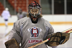 Goalkeeper Robert Kristan at practice of Slovenian national team at Hockey IIHF WC 2008 in Halifax,  on May 06, 2008 in Metro Center, Halifax, Canada.  (Photo by Vid Ponikvar / Sportal Images)