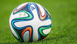 26.05.2014, Kufstein Arena, Kufstein, AUT, FIFA WM, Testspiel, Mazedonien vs Kamerun, im Bild BRAZUCA - offizieller Spielball der FIFA Fußballweltmeisterschaft 2014 // BRAZUCA - offizieller Spielball der FIFA Fußballweltmeisterschaft 2014 during friendly match between Macedonia and Cameroon for Preparation of the FIFA Worldcup Brasil 2014 at the Kufstein Arena in Kufstein, Austria on 2014/05/26. EXPA Pictures © 2014, PhotoCredit: EXPA/ JFK