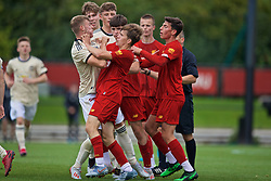KIRKBY, ENGLAND - Saturday, August 31, 2019: Tempers flare at the final whistle as Manchester United's Reece Devine clashes with Liverpool players during the Under-18 FA Premier League match between Liverpool FC and Manchester United at the Liverpool Academy. Liverpool won 4-3. (Pic by David Rawcliffe/Propaganda)