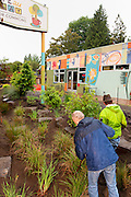 Gary Riggs and Josh Lighthipe volunteer at the rain garden work meet, Café au Play at Tabor Commons, a project of the Southeast Uplift Neighborhood Coalition (SEUL) and volunteers from Portland's Mt Tabor neighborhood.