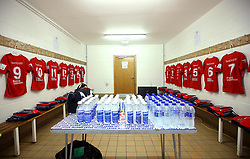 The Bristol Rugby dressing room set up at Castle Park ahead of the B&I fixture with Doncaster Knights - Mandatory by-line: Robbie Stephenson/JMP - 13/01/2018 - RUGBY - Castle Park - Doncaster, England - Doncaster Knights v Bristol Rugby - B&I Cup