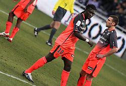 Bafétimbi Gomis of Lyon  reacts. Toulouse v Olympique Lyonnais, Ligue 1, Stade Municipal, Toulouse, France, 7th Feb 2010.