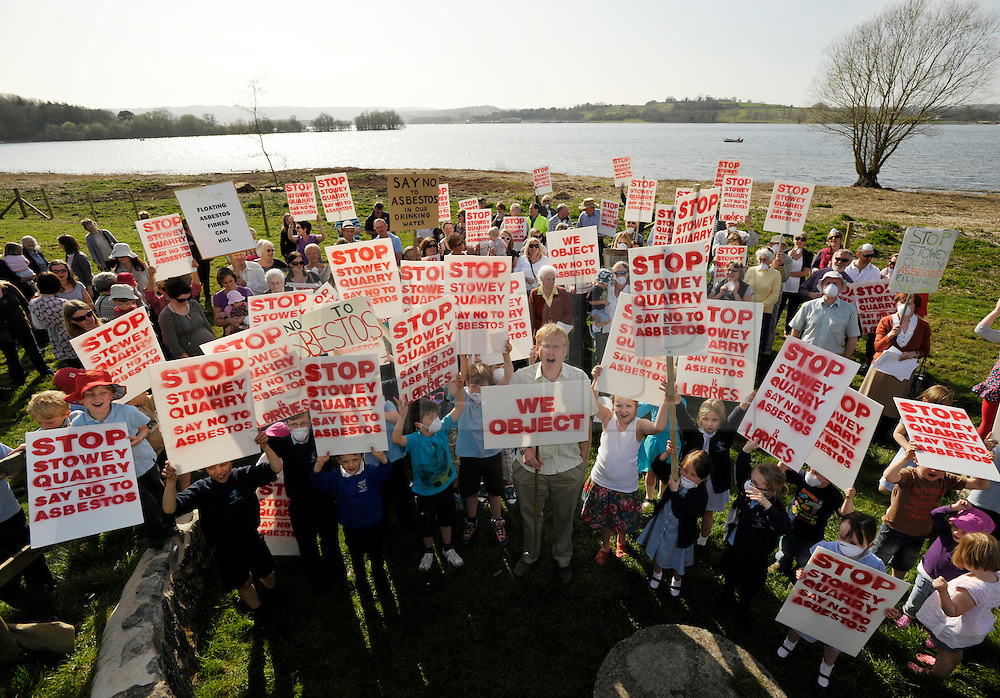 © Licensed to London News Pictures. 29/03/2012.  Chew Valley Lake, Somerset, UK.  Local residents protest against proposals to use nearby Stowey Quarry as a landfill dump for waste including asbestos.  The quarry is on a hill overlooking the village of Bishop Sutton and Chew Valley Lake which is a reservoir providing water to a large part of Bristol...Photo credit : Simon Chapman/LNP