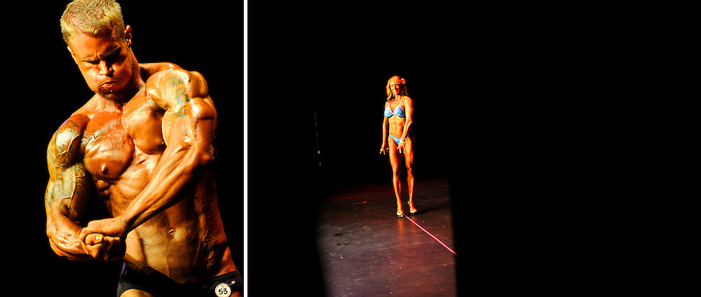 Teresa Mason strikes a pose for the judges during the women's figure competition at the 2011 JBLM Bodybuilding Championship June 4 on JBLM.