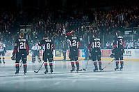 KELOWNA, CANADA - JANUARY 3: Jared Bethune #21, Chase Witala #8, Sam Ruopp #2, Zach Pochiro #13 and Marc McNulty #3 of Prince George Cougars line up against the Kelowna Rockets on January 3, 2015 at Prospera Place in Kelowna, British Columbia, Canada.  (Photo by Marissa Baecker/Shoot the Breeze)  *** Local Caption *** Jared Bethune; Chase Witala; Sam Ruopp; Zach Pochiro; Marc McNulty;