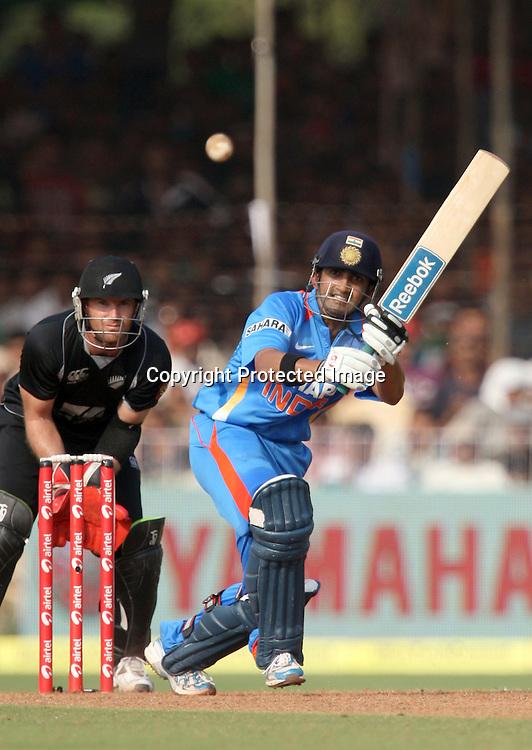 Indian captain Gautam Gambhir plays a shot aganist New Zealand during the 3rd ODI India vs New Zealand Played at Reliance Stadium, Vadodara, 4 December 2010 (50-over match)