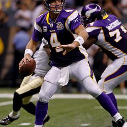 September 9, 2010; New Orleans, LA, USA;  Minnesota Vikings quarterback Brett Favre (4) drops back to pass during the NFL Kickoff season opener at the Louisiana Superdome. The New Orleans Saints defeated the Minnesota Vikings 14-9.  Mandatory Credit: Derick E. Hingle
