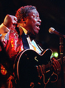 B.B. King takes the stage to record a live album at his namesake club on Beale Street February 18, 1993. King began his rise to Blues stardom on Beale.