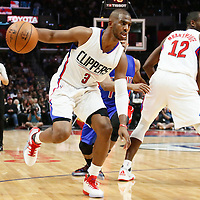 07 November 2016: Los Angeles Clippers guard Chris Paul (3) drives during the LA Clippers 114-82 victory over the Detroit Pistons, at the Staples Center, Los Angeles, California, USA.