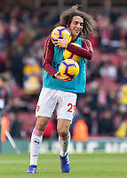 Football - 2018 / 2019 Premier League - Arsenal vs. Southampton<br /> <br /> Matteo Guendouzi (Arsenal FC) at warms up at half time by stealing all 3 balls for warm up at The Emirates.<br /> <br /> COLORSPORT/DANIEL BEARHAM
