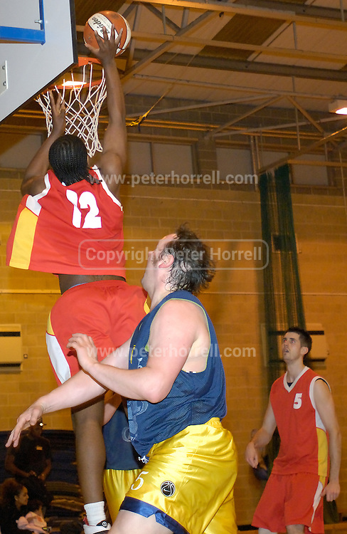 Thursday 26th April, 2007. Craig Pringle scores another two points in Barking and Dagenham Erkenwald's EMBL Play Off semi-final against Lakers at Sydney Russell. Erkenwald won the game 90 - 69.
