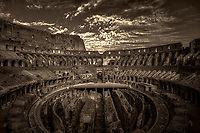 """Western entrance evening view of the Roman Colosseum - BW""…<br />