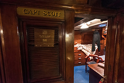Interior of Captain Scott's cabin on RSS Discovery ship berthed at Discovery Point in Dundee ,Tayside, Scotland,