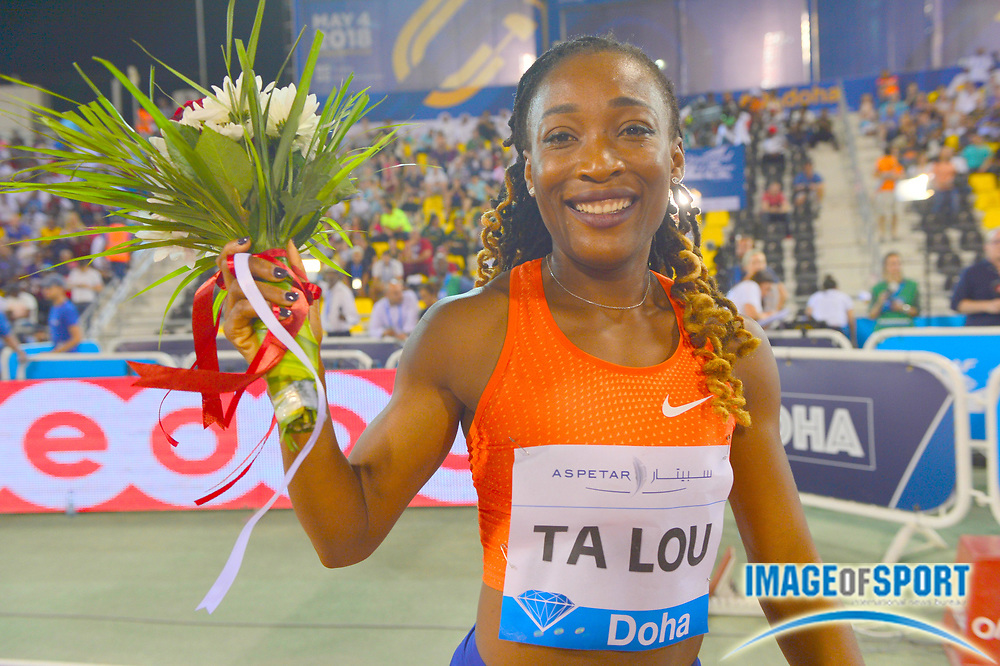 Marie-Josée Ta Lou aka Marie-Josee Ta Lou (CIV) poses after winning the women's 100m in 10.85 in the 2018 IAAF Doha Diamond League meeting at Suhaim Bin Hamad Stadium in Doha, Qatar, Friday, May 4, 2018. (Jiro Mochizuki/Image of Sport)