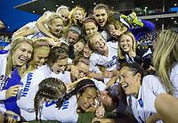 The Omaha Marian Crusaders celebrate their win over Millard North. Millard North played Omaha Marian in the Class A girls Nebraska state soccer championship at Morrison Stadium on Wednesday, May 17, 2017, in Omaha.<br /> <br /> MATT DIXON/THE WORLD-HERALD