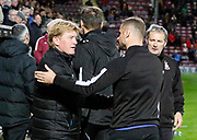 Stuart McCall Bradford City's First Team Manager and Interim Manager of Oldham Athletic Ritchie Wellens shake hands during the EFL Sky Bet League 1 match between Bradford City and Oldham Athletic at the Northern Commercials Stadium, Bradford, England on 17 October 2017. Photo by Paul Thompson.