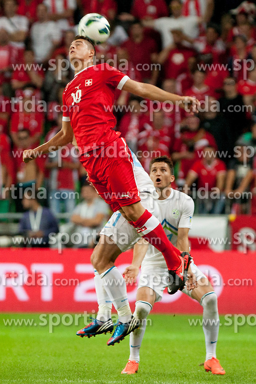 Granit Xhaka of Sweitterland during qualifications football match for world cup 2014 in Brazil between national team of Slovenia and Switzerland, on September 7, 2012 in Ljubljana, Slovenia. (Photo by Urban Urbanc / Sportida.com)