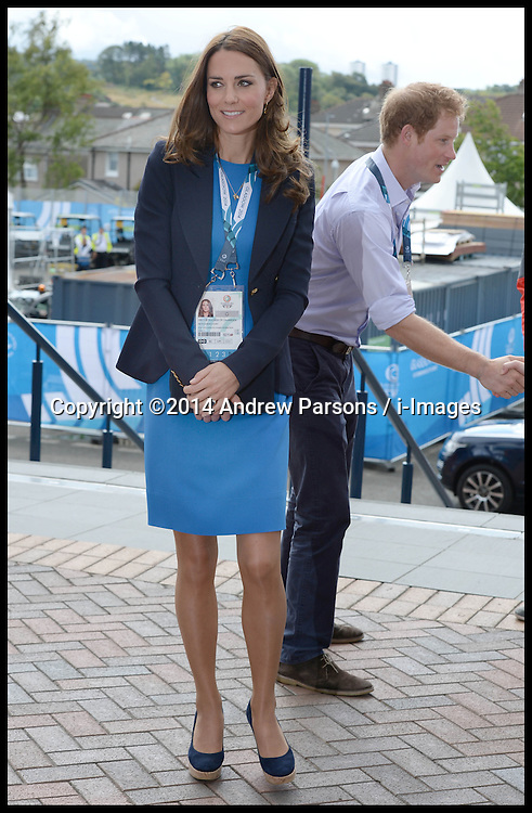 Image licensed to i-Images Picture Agency. 29/07/2014. Glasgow, United Kingdom. The Duke and Duchess of Cambridge and Prince Harry arriving at the Athletics, Hampden Park, Glasgow on day six of the Commonwealth Games.  Picture by Andrew Parsons / i-Images