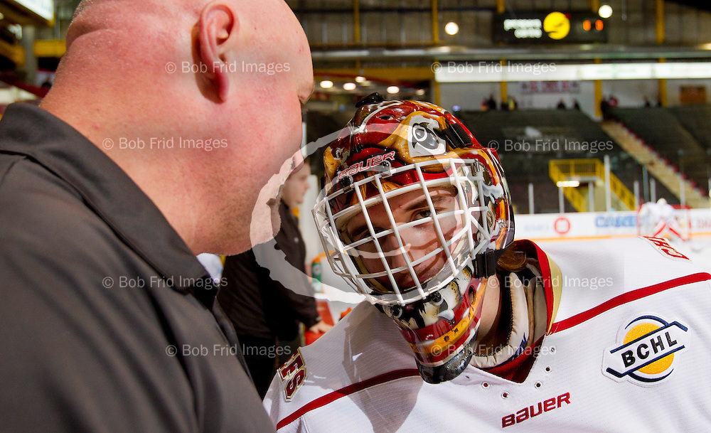 22 November 2014:  goalie Aidan Pelino (35)  of the Chiefs  during a game between the Chilliwack Chiefs and the Coquitlam Express at Prospera Centre, Chilliwack, BC.    ****(Photo by Bob Frid - All Rights Reserved 2014): mobile: 778-834-2455 : email: bob.frid@shaw.ca ****