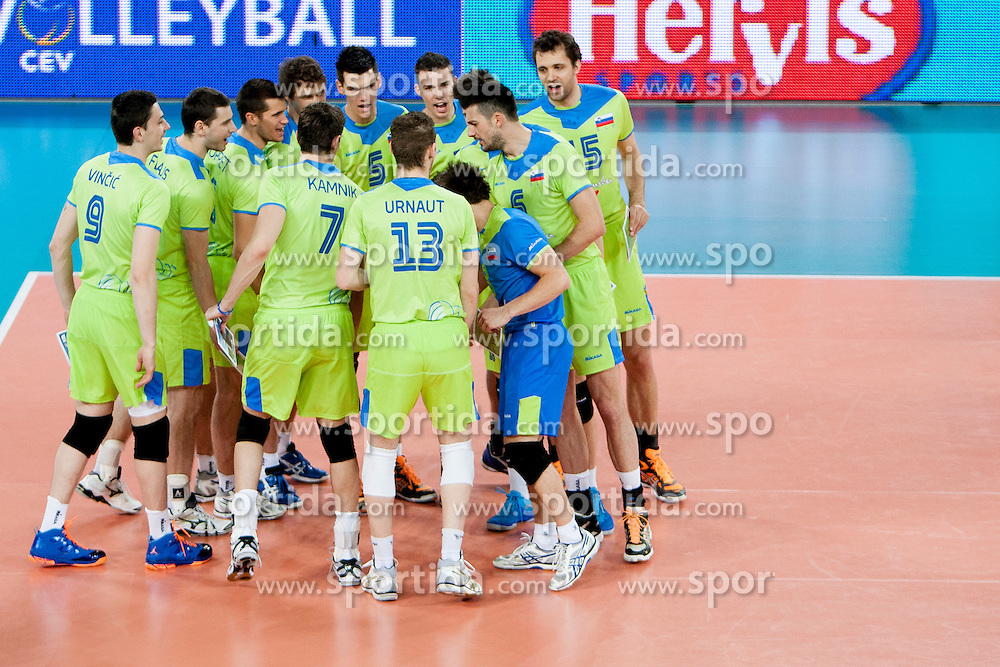 National team Slovenia during volleyball match of FIVB Men's Volleyball World Championship 2014 Qualifications between National teams of Slovenia and Moldova in pool B on May 25, 2013 in Arena Stozice, Ljubljana, Slovenia. (Photo By Urban Urbanc / Sportida)