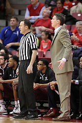 28 January 2015:  Brad Gaston stands near Paul Lusk during an NCAA MVC (Missouri Valley Conference) men's basketball game between the Missouri State Bears and the Illinois State Redbirds at Redbird Arena in Normal Illinois