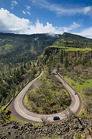 Horeshoe bend of Historic Columbia River Highway below Rowena Crest. Columbia River Gorge National Scenic Arae, Oregon