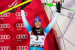 """Sarka Strachova (CZE) during Flower Ceremony after the FIS Alpine Ski World Cup 2016/17 Ladies Slalom race named """"Snow Queen Trophy 2017"""", on January 3, 2017 in Course Crveni Spust at Sljeme hill, Zagreb, Croatia. Photo by Ziga Zupan / Sportida"""